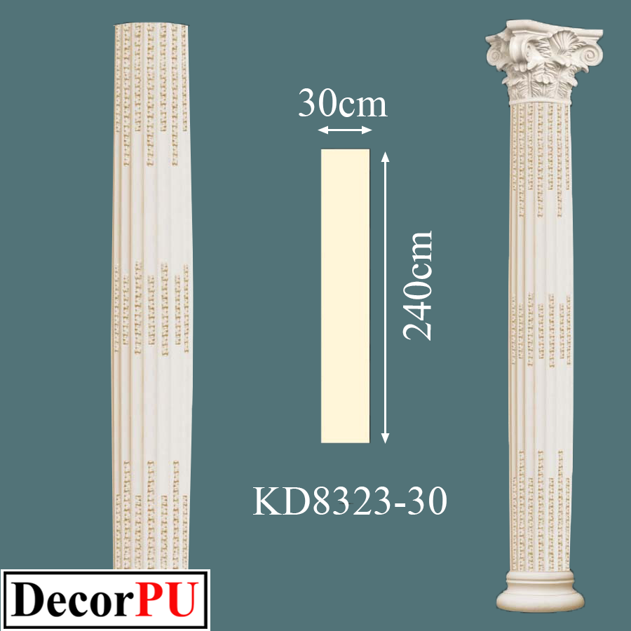KD-8323-30-30cm-patterned-straight-lined-roman-column-models-column-capitals-decorative-columns-polyurethane-hard-column-exterior-cladding-column-prices-models